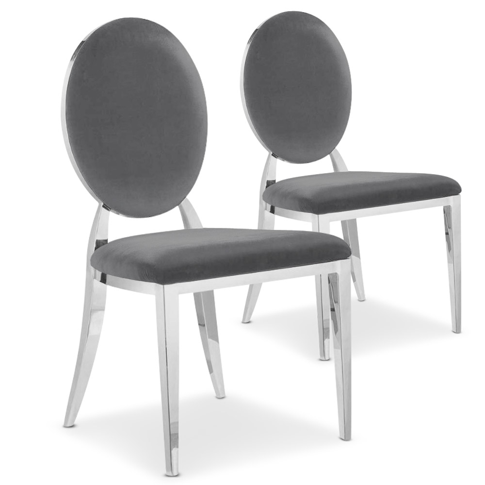Lot de 2 chaises médaillon Sofia Velours Gris
