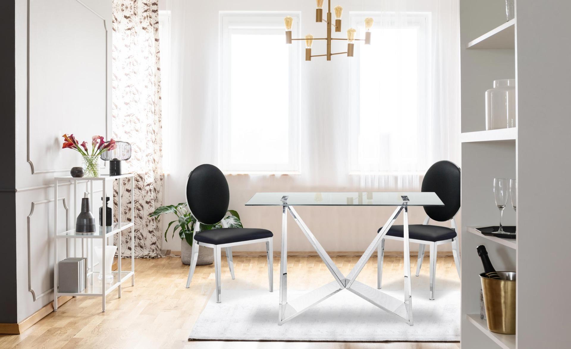 Set di 2 sedie a medaglione Sofia in similpelle nere