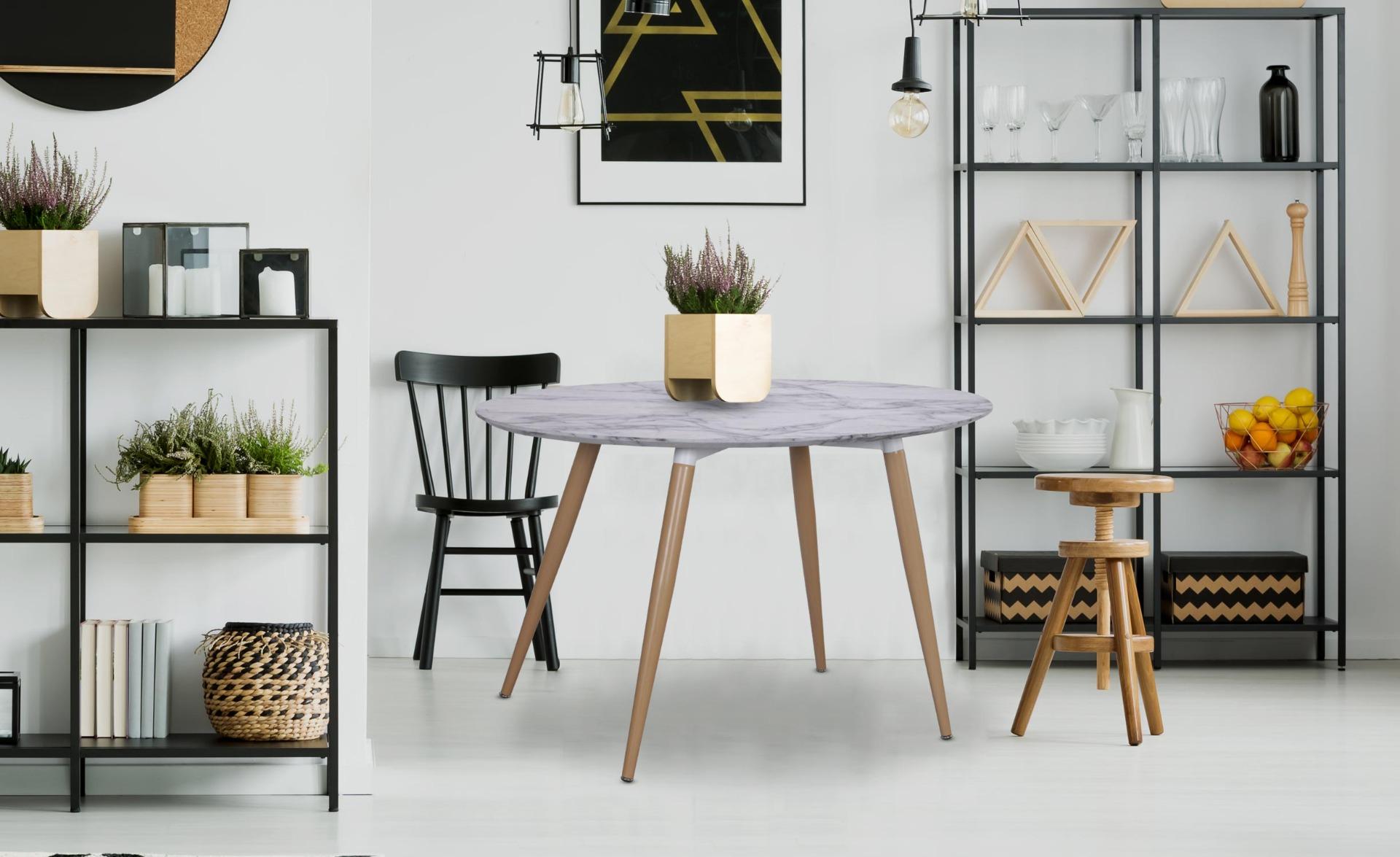 Tavolo ovale scandinavo  Sissi effetto marmo
