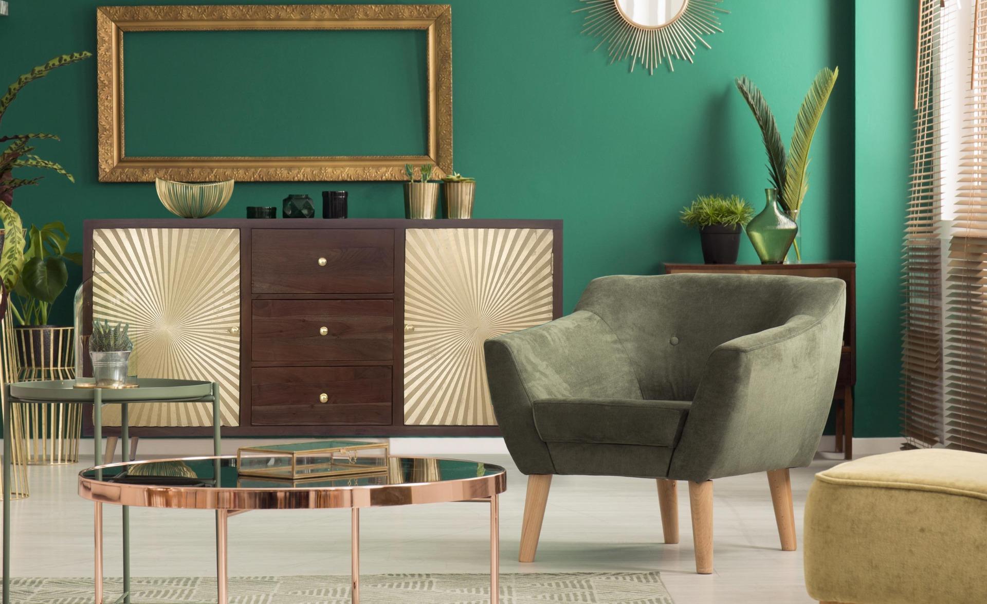 Buffet a 2 ante e 3 cassetti Solaris in legno e oro