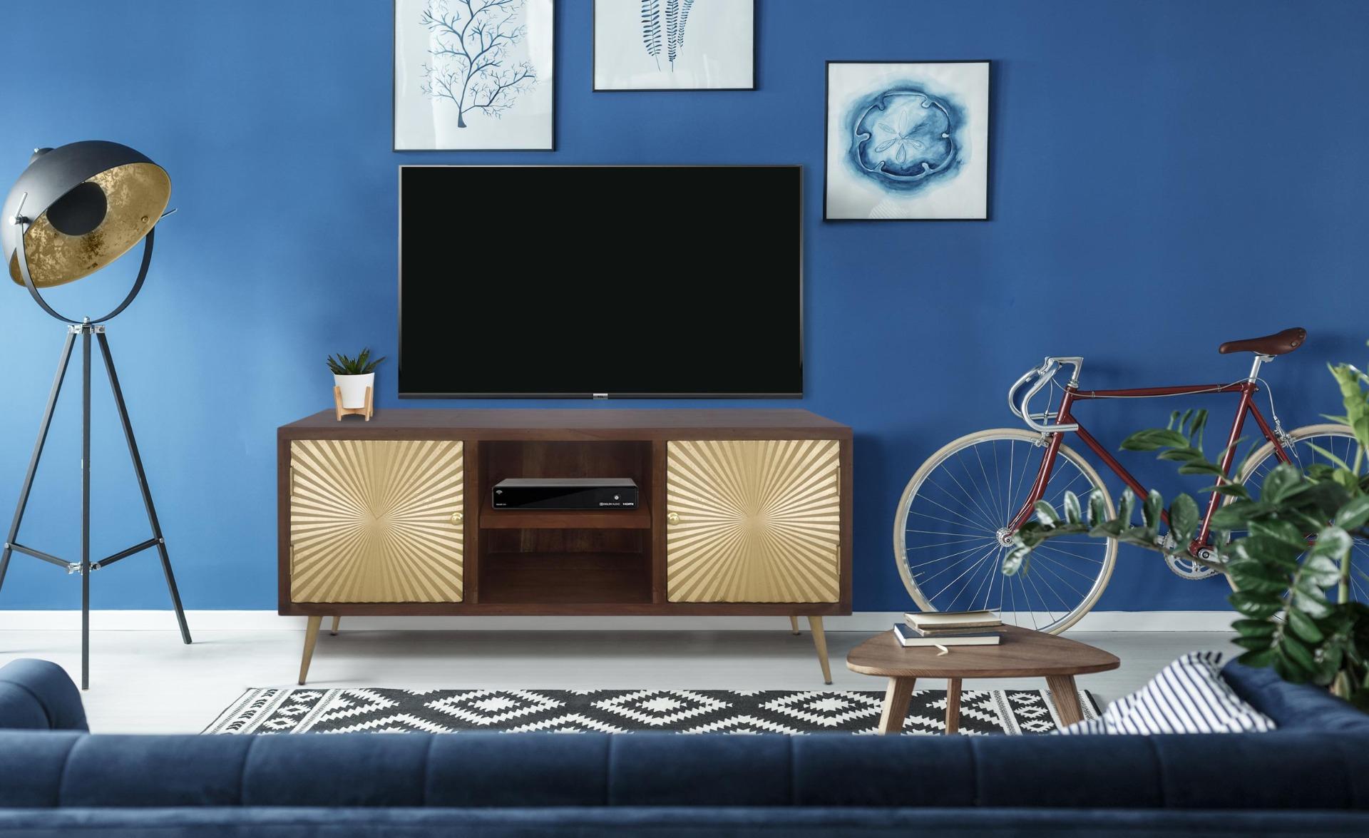Mobile TV Solaris in legno e oro