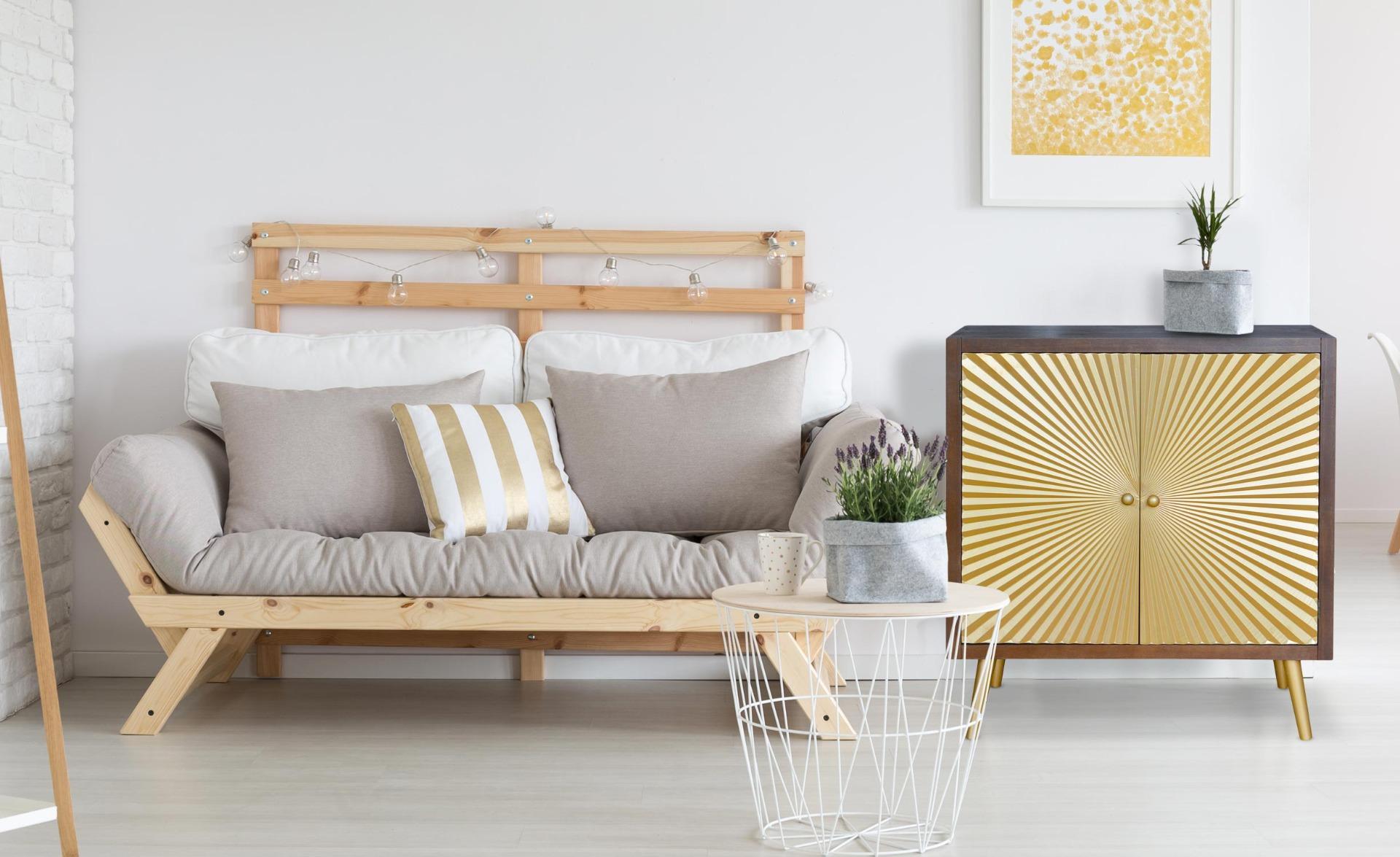 Buffet a 2 ante Solaris  in legno e oro