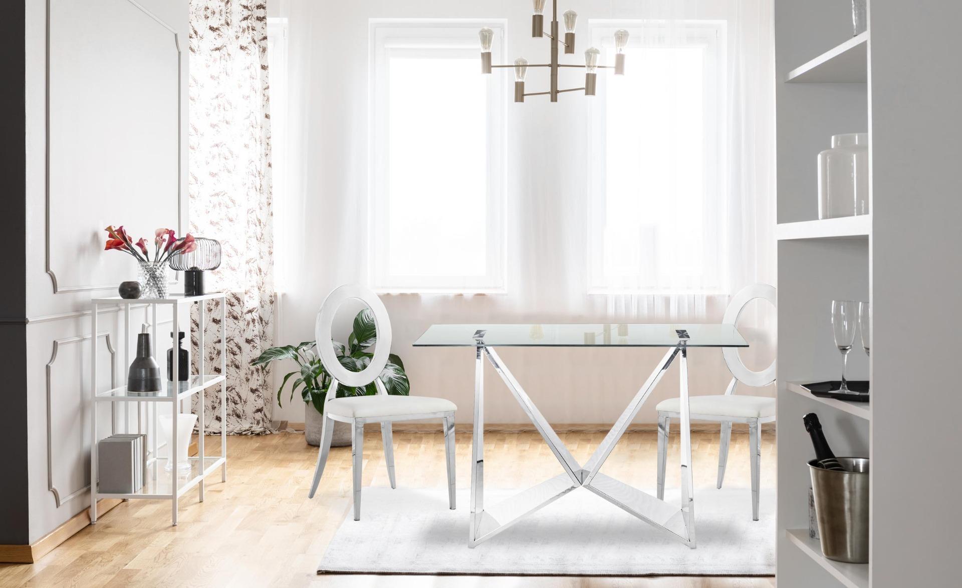 Set di 2 sedie Sonia in metallo argentato e similpelle bianca