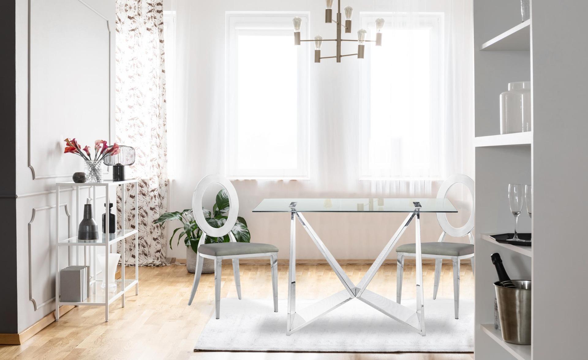 Set di 2 sedie Sonia in metallo argentato e similpelle grigia