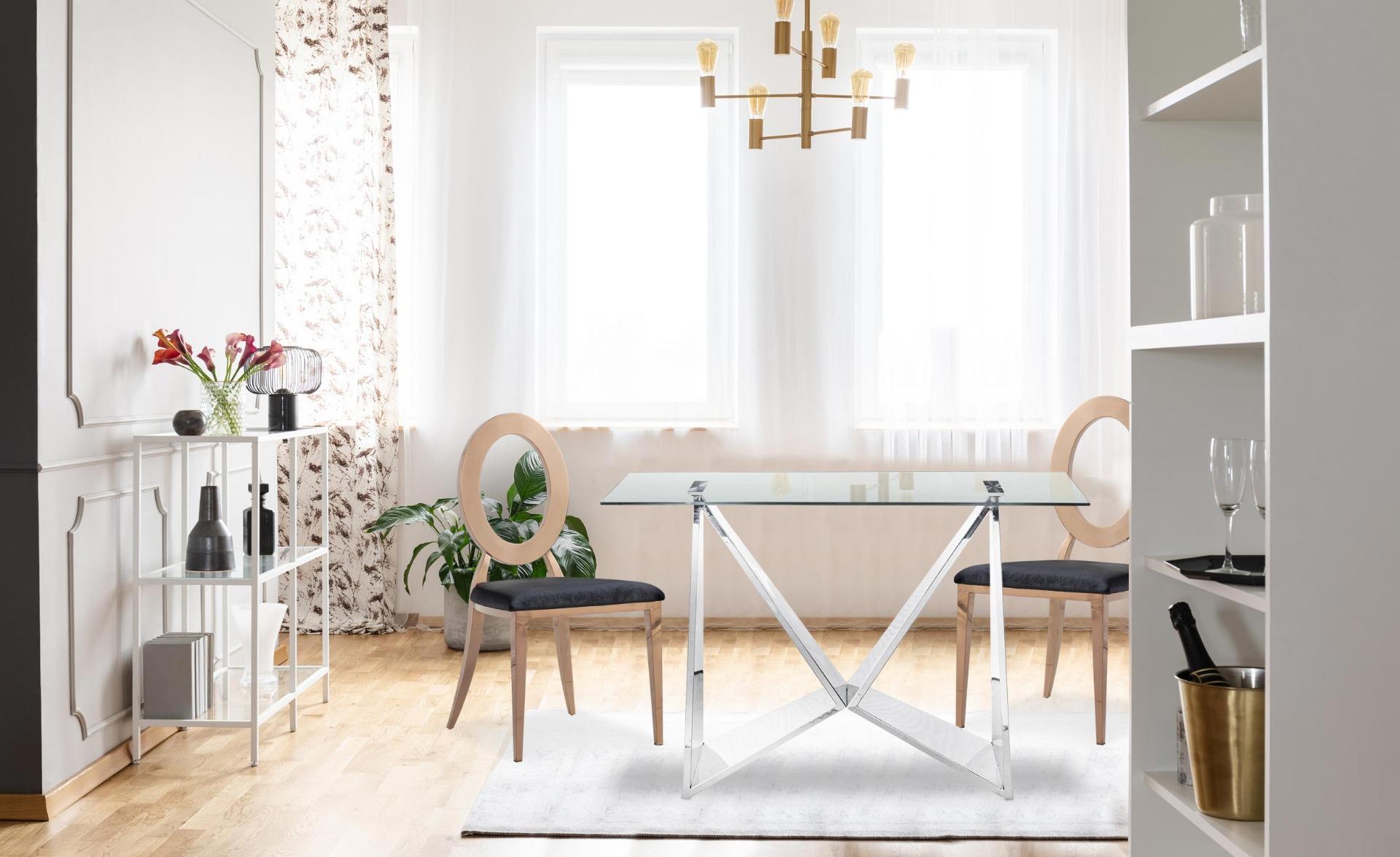 Set di 2 sedie Sonia in metallo oro rosa e velluto nero