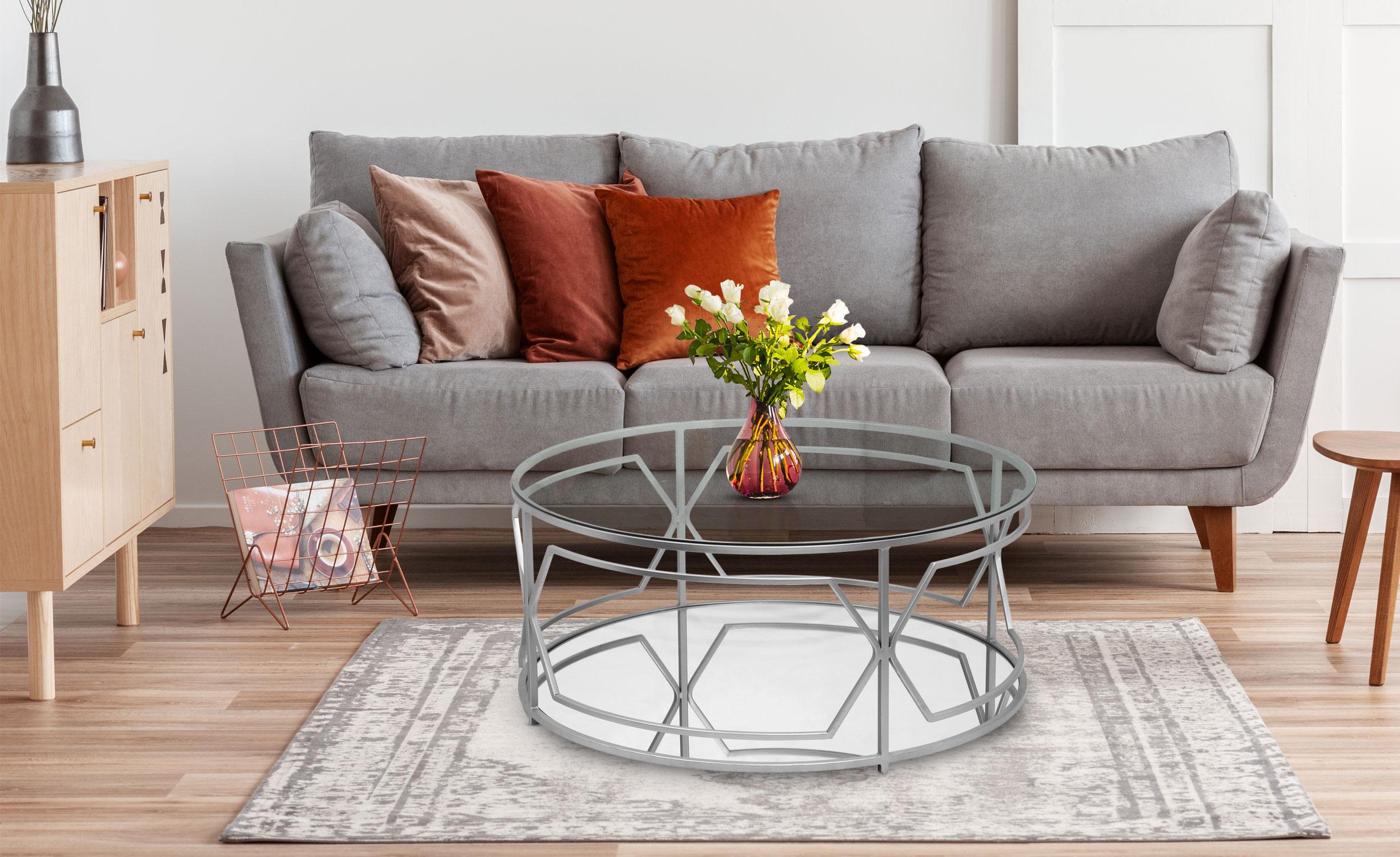 Tavolino rotondo Bolano Argento e Vetro trasparente