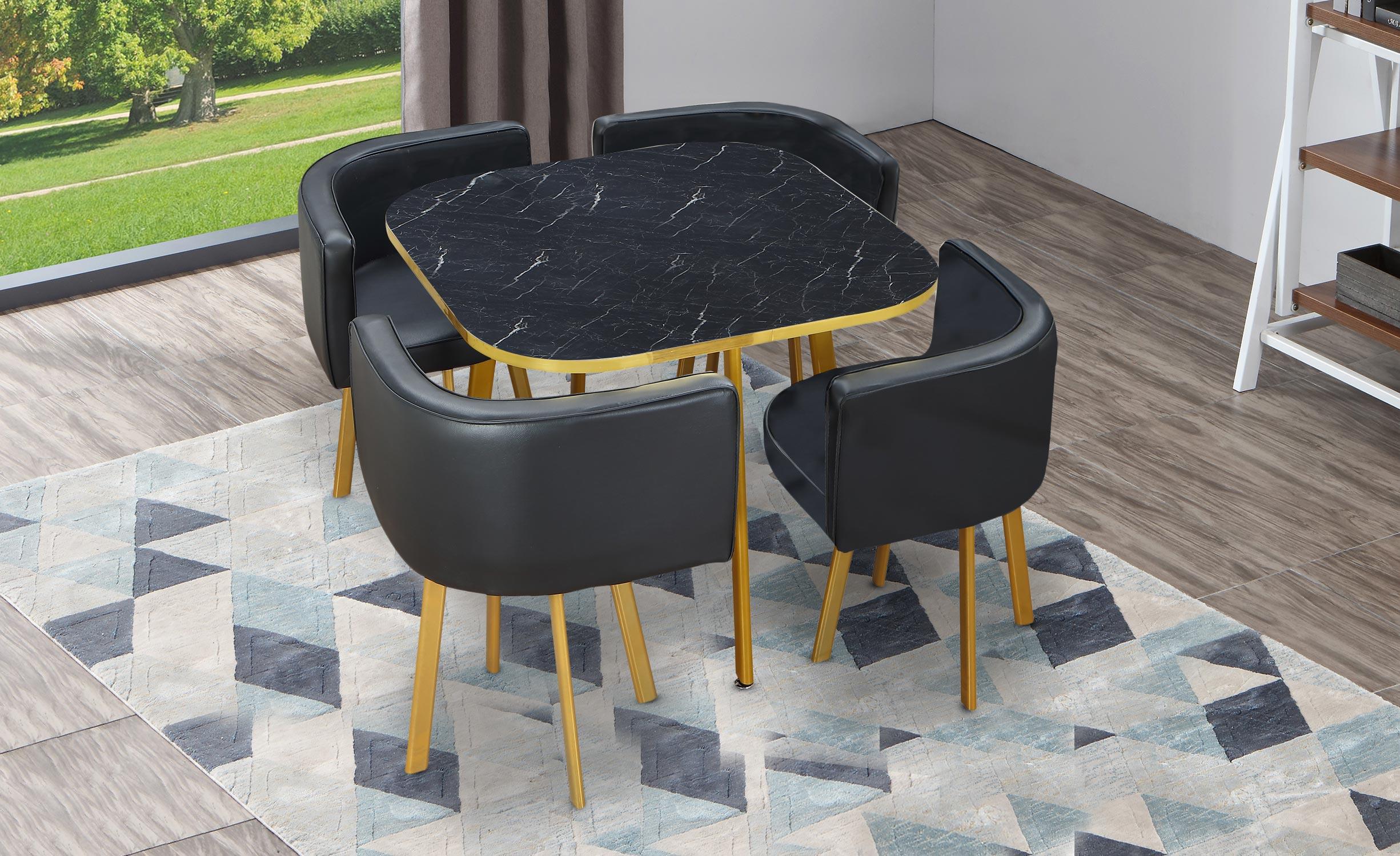 Tavolo e sedie Oslo Or Effetto Marmo oro e Similpelle Nero