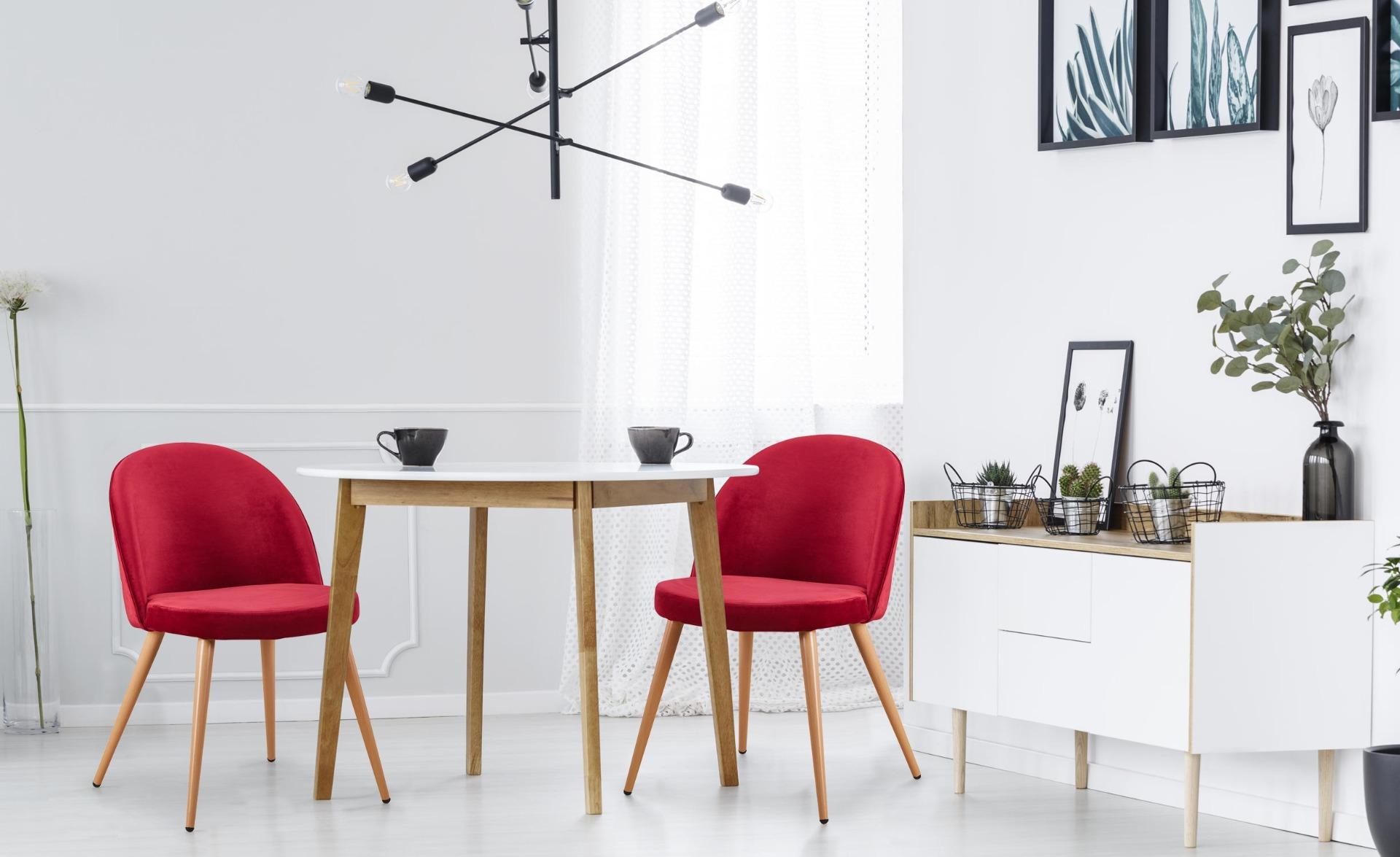Set di 4 sedie scandinave Tartan in velluto rosso