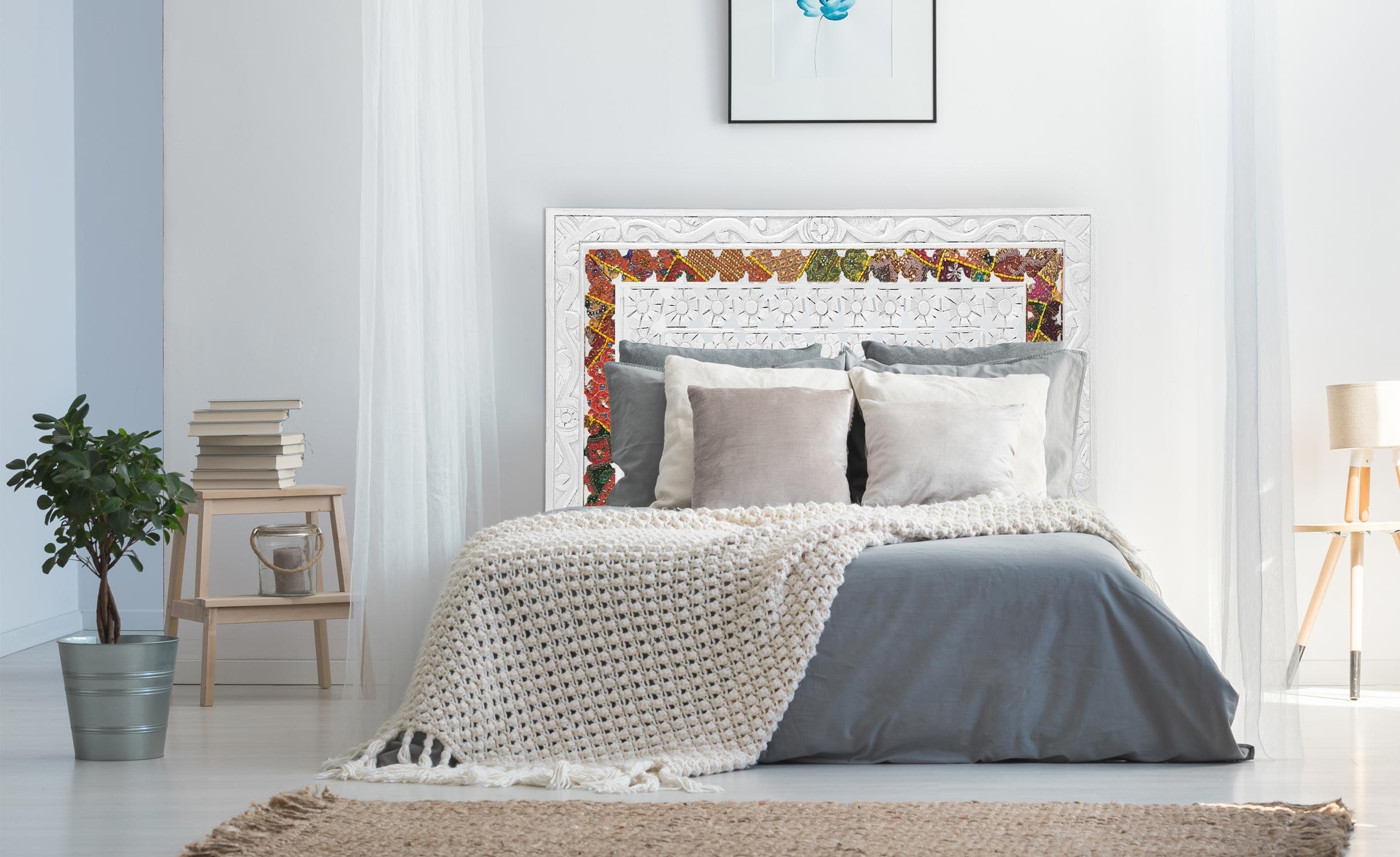 Testata letto in tessuto Exclufleur 160 cm in legno bianco
