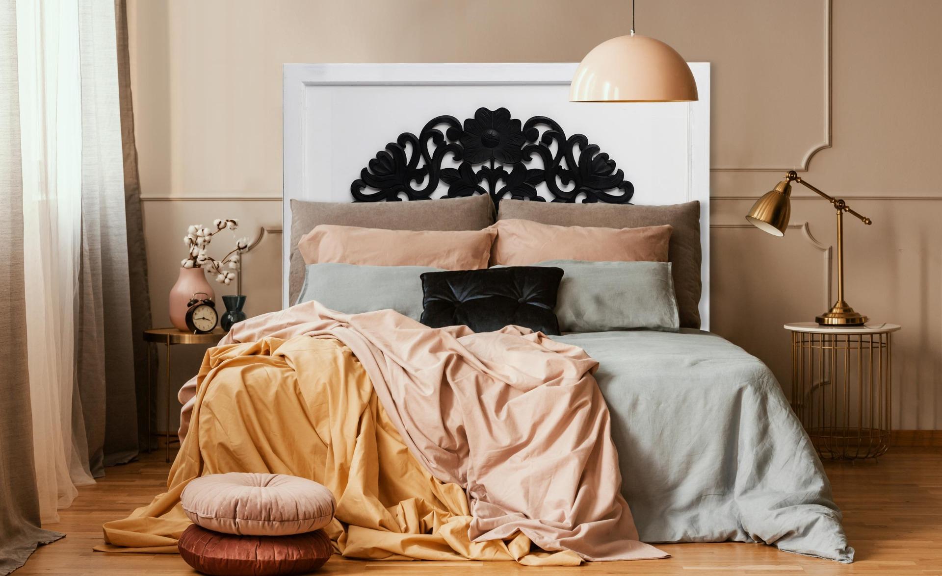 Testiera Venezia da 140 cm in legno bianco e nero