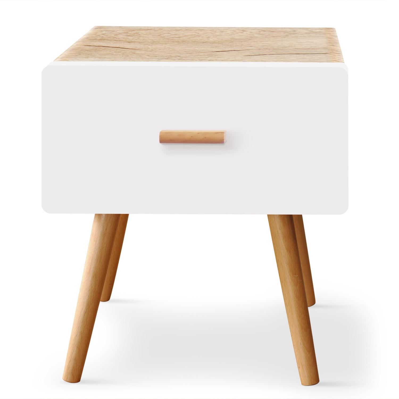 Table de chevet scandinave 1 tiroir Amanda Chêne clair et Blanc