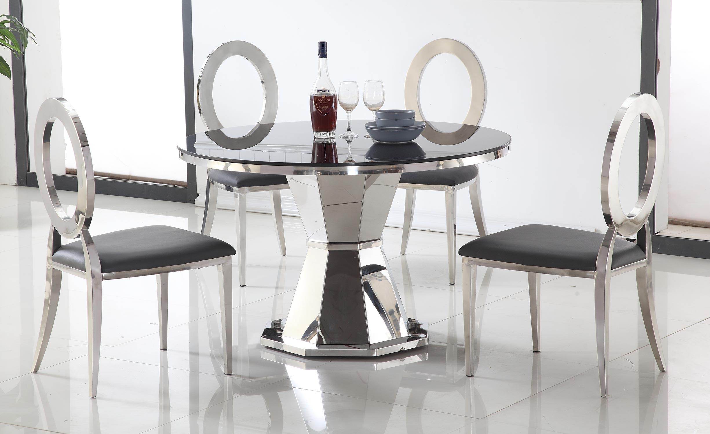 Tavolo rotondo Yvone in vetro nero